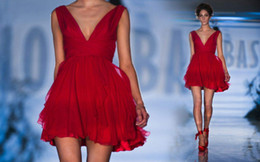 2019 A-line short red chiffon backless prom dresses sexy A line Skirt Paolo Sebastian celebrity party gowns