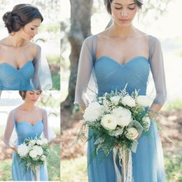 Light Sky Blue 2016 Bridesmaid Dresses Long Cheap Summer Beach Dress Formal Ball Gowns With Sweetheart Neck Long Sleeves Floor Length