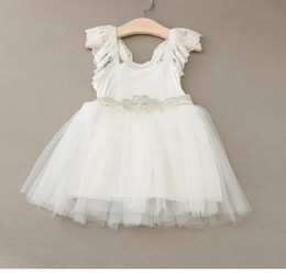 New Arrival Girls Dresses White Soft Cotton Lace Tulle Dresses with Waistband Cute Fashion Children Clothes