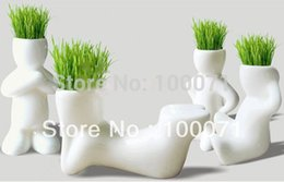 Wholesale 2Pcs Creative Ceramic Magic Grass Garden Table Planting Baby Plants Porcelain Toy Pot
