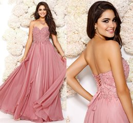 Wholesale A line Hot Selling Long Prom Dresses Applique and Beaded Bodice Open Back with Corset Tie Little Sweep Train Party Dresses CJ06