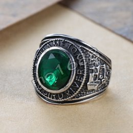 Men's emerald green zircon 316L Stainless Steel Ring