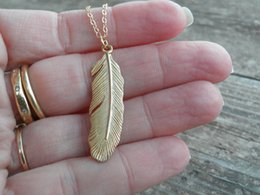 Wholesale Ms Bohemia style restoring ancient ways contracted feather necklace Gold Long Pendant Necklace65cm cm