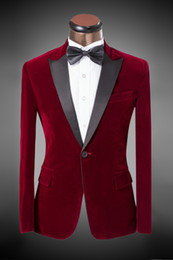 (suit+pant) 2016 New Design Men'S Suit Bordeaux Velvet Suit Bridegroom Wedding Dress 5XL Men's Blazer ! free shipping