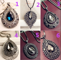 10   PCS new Korean fashion sweater chain girls inlay diamond exaggerated style mixed batch of long necklace wild