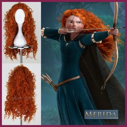 Wholesale New Hot MERIDA BRAVE Movie Disguise Long Orange Africa Curly Hair Cosplay Anime Wig