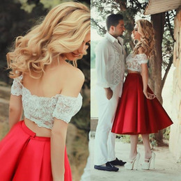 Sparkly Two Pieces Wedding Dresses Ivory and Dark Red Off the Shoulder Colorful Informal Short Bridal Gowns Outdoor Wedding Tea Length Dress