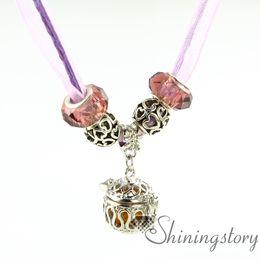 openwork organza necklaces wholesale diffuser necklace oil diffuser necklace aroma pendant natural lava stone