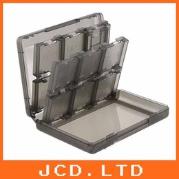 Wholesale-28-in-1 Game Card Case Holder Cartridge Box for Nintendo 3DS & XL LLSmoke White each 5pcs