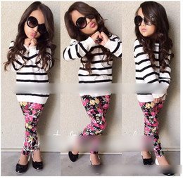 Wholesale 2016 Fashion Children Girls Stripes Tops Flora Leggings Pants Outfits School Style Girls Kids Lady Dress Set KB267