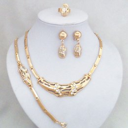 Hot Selling 24K Gold Plated Woman Jewelry Sets Luxury Bridal Gold Necklace Earrings Bracelet Sets 774