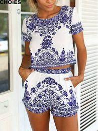 Wholesale CHOIES Women Retro Vintage Tile Prints Blue White Porcelain Pattern Short Sleeve Crop Top And Shorts Set Summer New