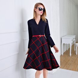 Women Dress 2016 Autumn Summer Retro Long Sleeve Dress Women Red Plaid V word collar Shirt Dresses