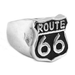 Free Shipping! Route 66 Ring Mother Road USA Highway Motor Biker Ring Stainless Steel Jewelry Historic Route 66 Ring SWR0277