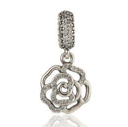 Shimmering Rose Openwork Dangle Charm DIY BeadsReal Solid 925 Sterling Silver Not Plated Fits Pandora Bracelets & Bangles & Necklaces