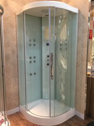 Wholesale Ocean Shipping Wall Corner Sliding Door Steam Shower Enclosure With Solid Surface Stone Tray sauna cabin mm