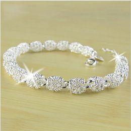 Wholesale Newest Women Bracelet Bangle Jewelry Top Quality Sterling Silver Chain Bead Ball charm Bracelets Bangles
