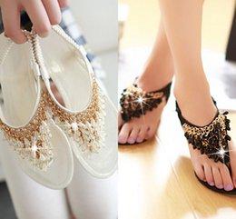 Wholesale 2015 Flat Women Flip Flops Bohemian Summer Sandals Shoes White Black Shiny Luxury Gem Beading low heeled wedge sandals Summer Women Shoes