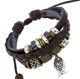 Promotion! DIY Handmade Weave Fashion Dangle Retro Pierced Fish Charms For Women Leather Bracelets Bangles