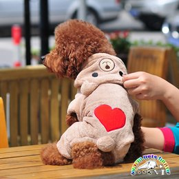 Chihuahua yorkie clothes brown gray love heart coat for dogs winter dog jumpsuit fleece dog outfits small dog puppy clothes YF001