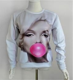 Fashion 2014 New Harajuku Women Marilyn Monroe blowing hoodies Pink bubble gum 3D Print Pullover galaxy Sweatshirt sweats Tops