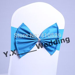 Wholesale Blue Color Chair Band Back With Poly Bow Spandex Chair Band For Wedding Chair Cover