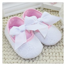Wholesale-New 2015 Cute Pink Ribbon Princess Lace Baby Shoes Lovely Big Bow Shallow Newborn Girl First Walkers Anti-skid Shoes
