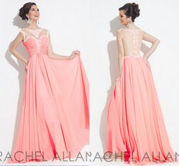 Wholesale Peach Long Party Dresses With Sheer Appliques Jewel Back Zipper A Line Ruched Chiffon Sleeveless Formal Pageant Dress Rachel Allen W06