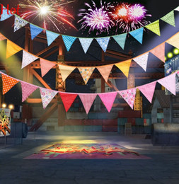 2.1M Multi-Color Fabric Bunting Pennant Flags Birthday Christmas Wedding Decoration Event Party Supplies Flags Green Red Yellow Hot SV016920