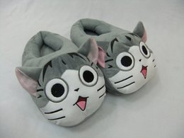 """1 Pair Free Shipping 11""""28cm Chi's Sweet Home Lovely Cat Plush Shoes Soft Winter Indoor Slippers For Adult"""