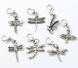 Wholesale 7Style Antique Silver Bee Dragonfly Charms Heart Floating Lobster Clasps Charm for Glass Living Memory Locket C176 c968