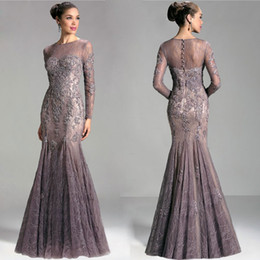Wholesale Sexy Evening Dresses For Women - 2016 Janique Custom Made Lace Evening Dresses Mermaid Sheer Bateau Neck Long Sleeves Cocktail Dress Appliqued Long Beaded Gowns For Women