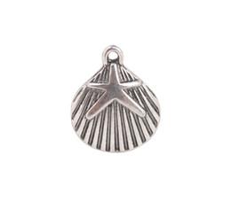50 PCS Fashion Antiqued Silver metal Starfish Shell Charms #92241