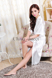 Wholesale Short Silk Robes Women - Unisex mens Ladies womens Solid plain rayon silk long Robe Pajama Lingerie Nightdress Kimono Gown pjs Women Dress 7 colors #3749