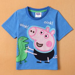 Wholesale Cartoon Peppa kid boy dinosaur t shirt summer short sleeve children clothes cotton