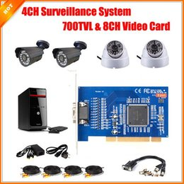 Camera Kit CCTV System 4 CMOS 700TVL Cameras + 8CH Video Card Installed on PC Security System