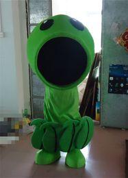 Wholesale Custom Made Plants Vs Zombies Mascot Costume Game Animation Cartoon Clothing Green Body Black Big Mouth Cartoon Costume