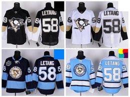 Pittsburgh Penguins Hockey Jerseys #58 Kris Letang Jersey Home Black Road White Alternate Navy Blue Third Light Blue Stitched