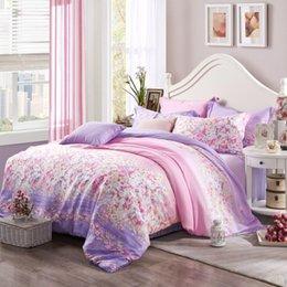 Wholesale 2015 tencel bedding sets soft comfortable flower printed light purple romantic queen size king size duvet cover bed sheet pillow case