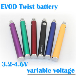 Top quality EVOD twist variable voltage battery 1300 mAh 3.2 - 4.8V vv evod twist battery fit EVOD BCC MT3 CE4 CE5 e cigarette ego atomizers