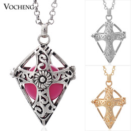 Wholesale VOCHENG Ball Harmony Colors Copper Metal Pendants Maternity Necklace with Stainless Steel Chain VA