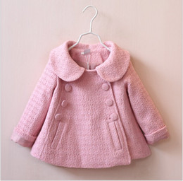 Wholesale Autumn Winter Children Coat Kids Coats For Girl Doll Collar Double Breasted Coats New Baby Girl Pure Color Tench Coats Outwear