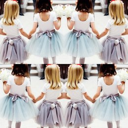 Wholesale Cute Winter Dresses Cheap - Cute Baby Girls Tulle Skirts With Ribbon Sash Tutu Ball Gown Flower Girl Party Dresses For Wedding Cheap Children's Skirts 2016