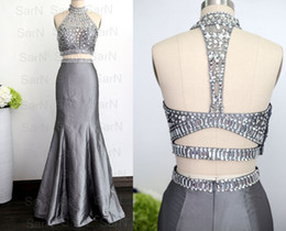 Two Pieces Taffeta Silver Party Dress Mermaid Formal Dresses Sexy Gown Two Pieces Prom Dresses Halter With Crystals Silver Mermaid Prom Gown