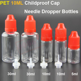 Needle dropper bottles with Childproof cap for eliquid or ejuice 10ml 30ml 50ml childproof plastic empty Dropper bottles for e-cigs atomizer