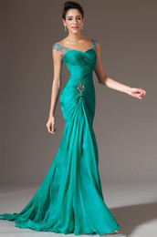 Wholesale 2016 Custom Made Sexy V neck Mermaid Floor Length Wedding Events Prom Dresses Turquoise Chiffon Bridesmaid Beaded Sequins Charming Evening