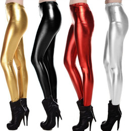 Wholesale New Fashion Metallic Color Shiny Legging American Apparel Winter Sexy Women Elastic Waist Skinny Pencil Pants Trousers Warm G0661