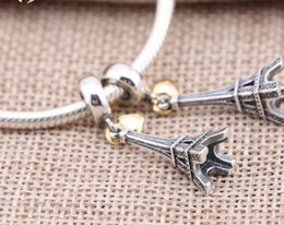 Los nuevos colgantes del corazón del oro con los encantos de la torre Eiffel de la plata esterlina 925 cupieron la joyería europea ML de los brazaletes de las pulseras desde corazón del oro de la pulsera 925 fabricantes