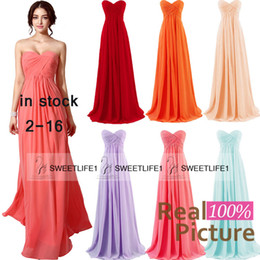 2019 IN STOCK Coral Bridesmaid Dresses Blush Mint Lilac Red Orange Chiffon Formal Maid of Honor Gowns A Line Sweetheart Floor Length Gowns