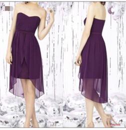 Descuento sin tirantes damas de alta-baja de vestir 2016 Diseñador Wedding Party Bajo Alto púrpura corto de dama de honor vestidos sin tirantes de la colmena de los vestidos de novia dama de honor vestido Vestido madrina